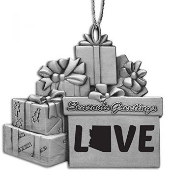 Arizona-State Love-Pewter Gift Package Ornament-Silver