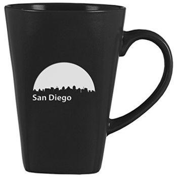 14 oz Square Ceramic Coffee Mug - San Diego City Skyline