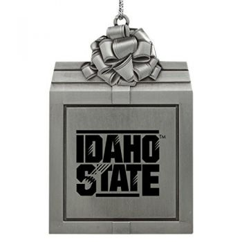 Idaho State University -Pewter Christmas Holiday Present Ornament-Silver