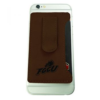 Florida Gulf Coast University -Leatherette Cell Phone Card Holder-Brown