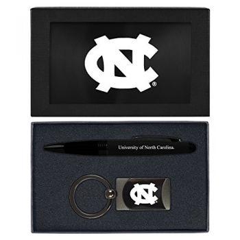 University of North Carolina-Executive Twist Action Ballpoint Pen Stylus and Gunmetal Key Tag Gift Set-Black