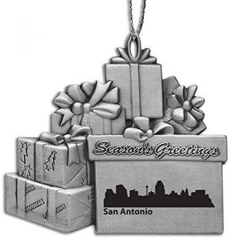 Pewter Gift Display Christmas Tree Ornament - San Antonio City Skyline