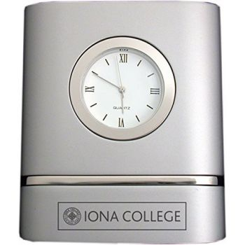 Iona College- Two-Toned Desk Clock -Silver