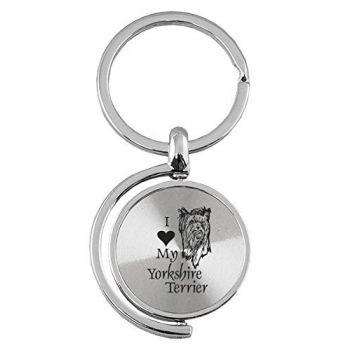 Spinner Round Keychain  - I Love My Yorkie