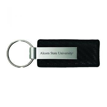 Alcorn State University-Carbon Fiber Leather and Metal Key Tag-Black
