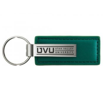 Utah Valley University - Leather and Metal Keychain - Green