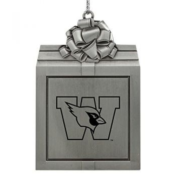 Wesleyan University -Pewter Christmas Holiday Present Ornament-Silver
