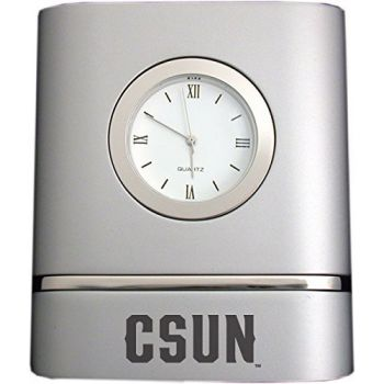 California State University, Northridge- Two-Toned Desk Clock -Silver