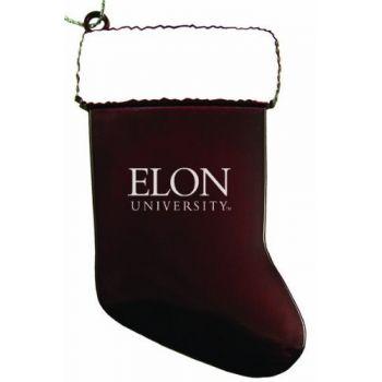 Elon University - Christmas Holiday Stocking Ornament - Burgundy