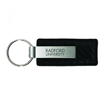 Radford University-Carbon Fiber Leather and Metal Key Tag-Black