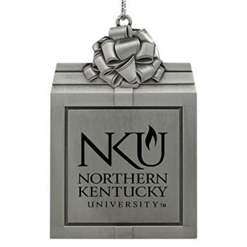 Northern Kentucky University -Pewter Christmas Holiday Present Ornament-Silver