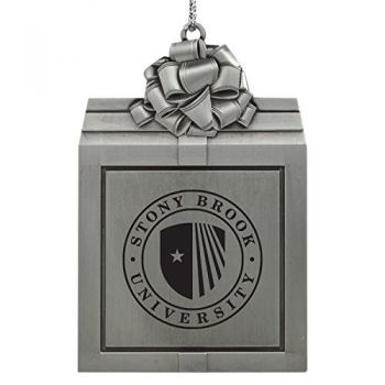 Stony Brook University -Pewter Christmas Holiday Present Ornament-Silver