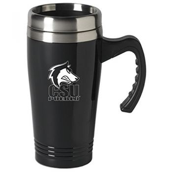 Colorado State University, Pueblo-16 oz. Stainless Steel Mug-Black