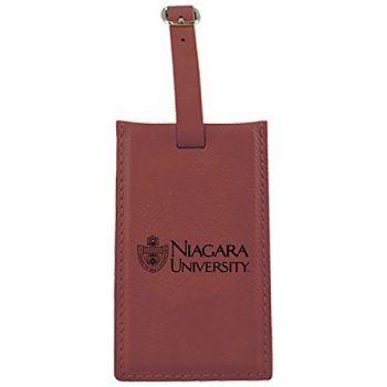 Niagara University -Leatherette Luggage Tag-Burgundy