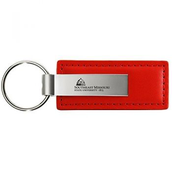 Southeast Missouri State University - Leather and Metal Keychain - Red