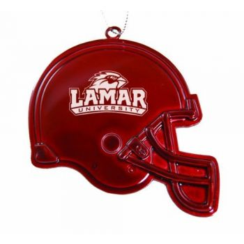 Lamar University - Chirstmas Holiday Football Helmet Ornament - Red