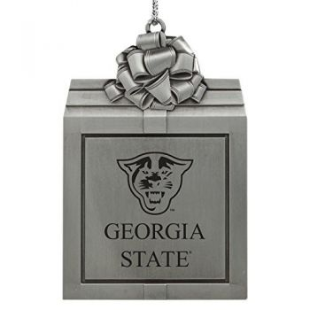 Georgia State University -Pewter Christmas Holiday Present Ornament-Silver