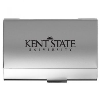 Kent State University - Two-Tone Business Card Holder - Silver