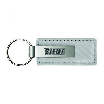 Siena College-Carbon Fiber Leather and Metal Key Tag-White