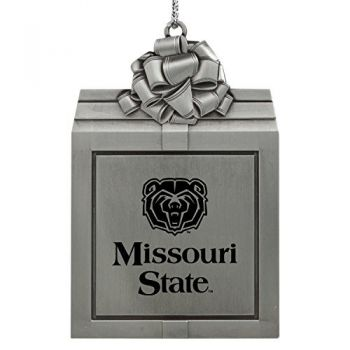 Missouri State University -Pewter Christmas Holiday Present Ornament-Silver