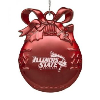 Illinois State University - Pewter Christmas Tree Ornament - Red