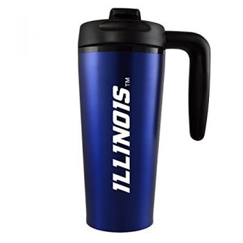 University of Illinois -16 oz. Travel Mug Tumbler with Handle-Blue