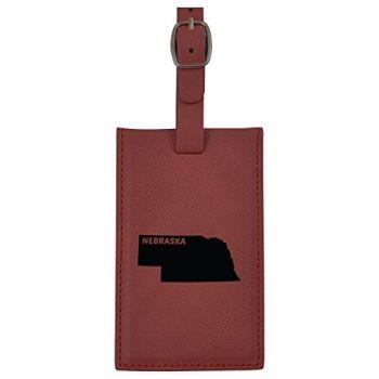 Nebraska-State Outline-Leatherette Luggage Tag -Burgundy