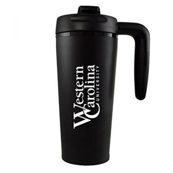 Western Carolina University -16 oz. Travel Mug Tumbler with Handle-Black