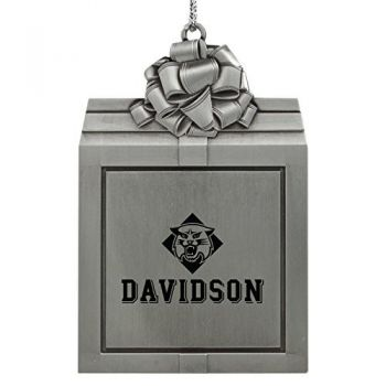 Davidson College-Pewter Christmas Holiday Present Ornament-Silver