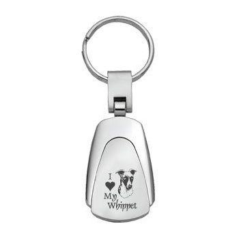 Teardrop Shaped Keychain Fob  - I Love My Whippet
