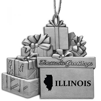 Illinois-State Outline-Pewter Gift Package Ornament-Silver