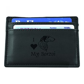 Slim Wallet with Money Clip  - I Love My Borzoi