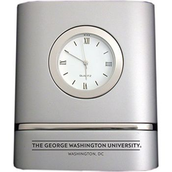 George Washington University - Brushed Silver Two-Toned Desk Clock