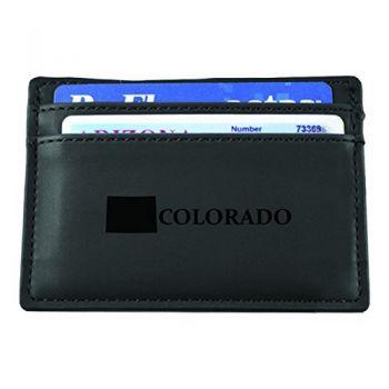 Colorado-State Outline-European Money Clip Wallet-Black