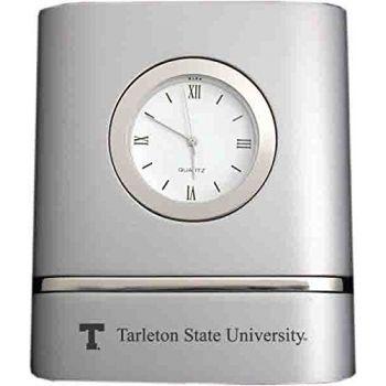 Tarleton State University- Two-Toned Desk Clock -Silver