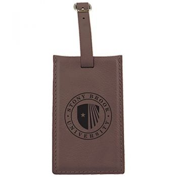 Stony Brook University -Leatherette Luggage Tag-Brown