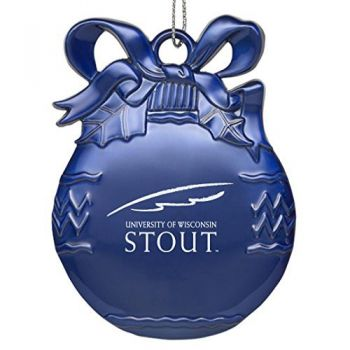 University of Wisconsin - Stout - Pewter Christmas Tree Ornament - Blue