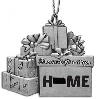 Kansas-State Outline-Home-Pewter Gift Package Ornament-Silver
