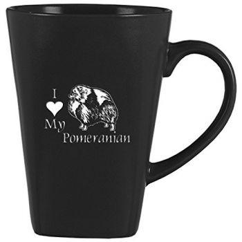 14 oz Square Ceramic Coffee Mug  - I Love My Pomeranian