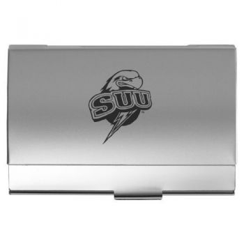 Southern Utah University - Two-Tone Business Card Holder - Silver