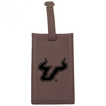 University of South Florida -Leatherette Luggage Tag-Brown