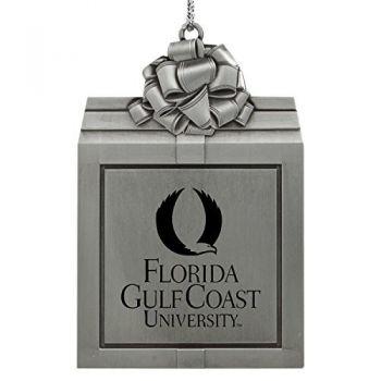 Florida Gulf Coast University -Pewter Christmas Holiday Present Ornament-Silver