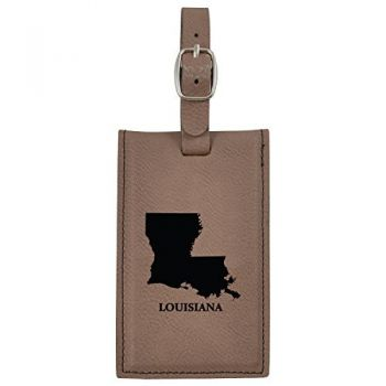 Louisiana-State Outline-Leatherette Luggage Tag -Brown