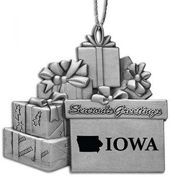 Iowa-State Outline-Pewter Gift Package Ornament-Silver