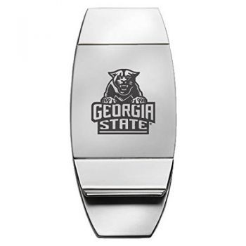 Georgia State University - Two-Toned Money Clip - Silver