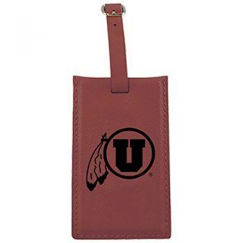 University of Utah-Leatherette Luggage Tag-Burgundy