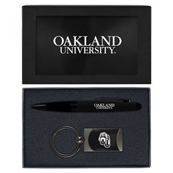 Oakland University -Executive Twist Action Ballpoint Pen Stylus and Gunmetal Key Tag Gift Set-Black