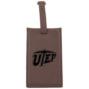 The University of Texas at El Paso -Leatherette Luggage Tag-Brown
