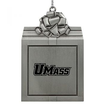 University of Massachusetts, Amherst-Pewter Christmas Holiday Present Ornament-Silver