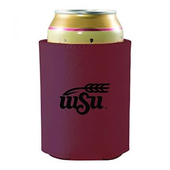 Wichita State University -Leatherette Beverage Can Cooler-Burgundy